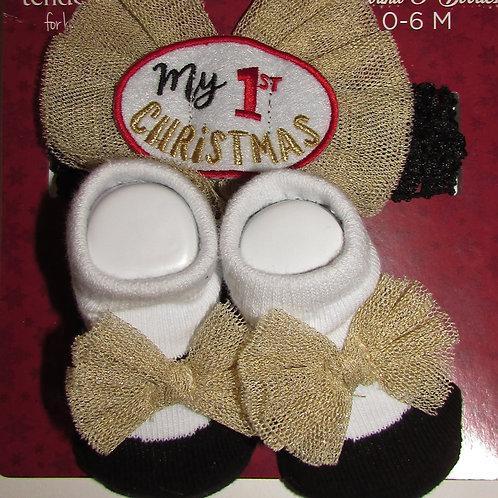 Tender Kisses sock set white/black/tan 1st Xmas motif size 0-6 mo