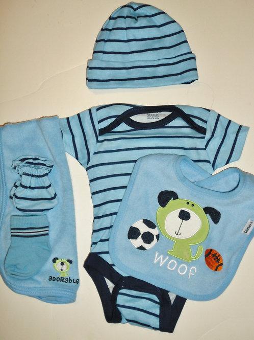 Gerber 6 pc set blue stripe/sport dog Newborn