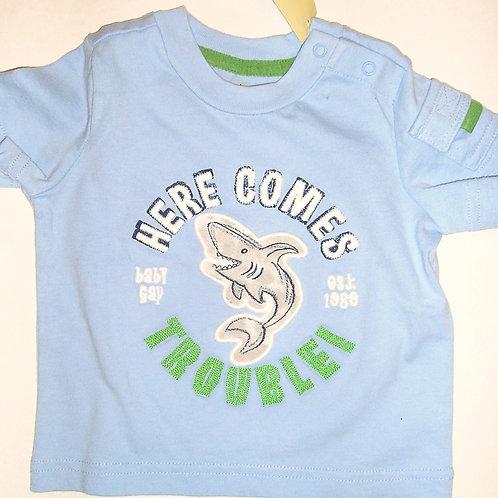 Baby Gap shirt blue/shark 0-3 mos