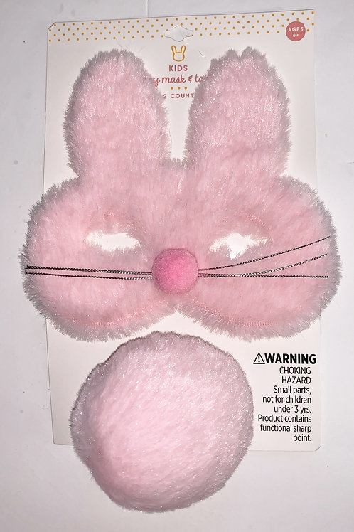 Kids brand mask set pink bunny size toddler+