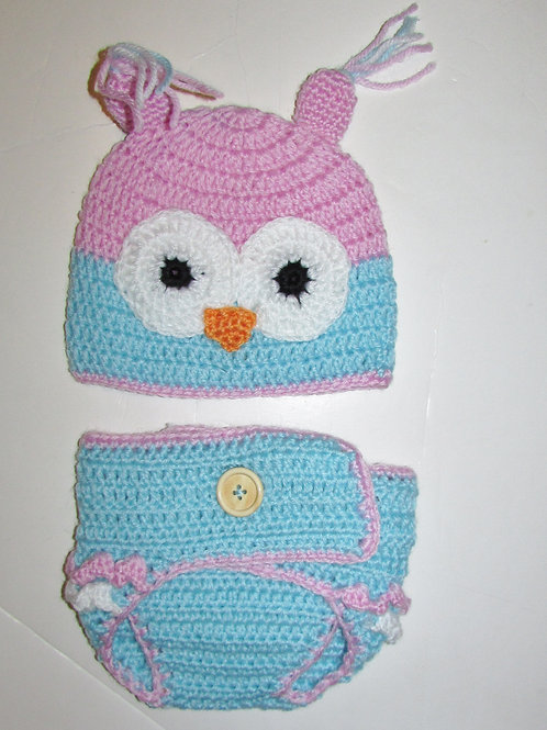 So 'Dorable 2 pc knit set blue/pink/owl 0-6 mo