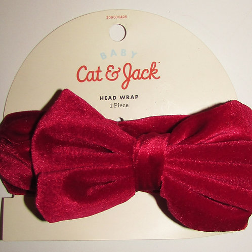 Cat & Jack headwrap red/bow size 0-6 mo