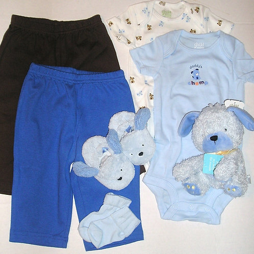 Child of Mine 7 pc set blue/brown dog size 0-3 mos