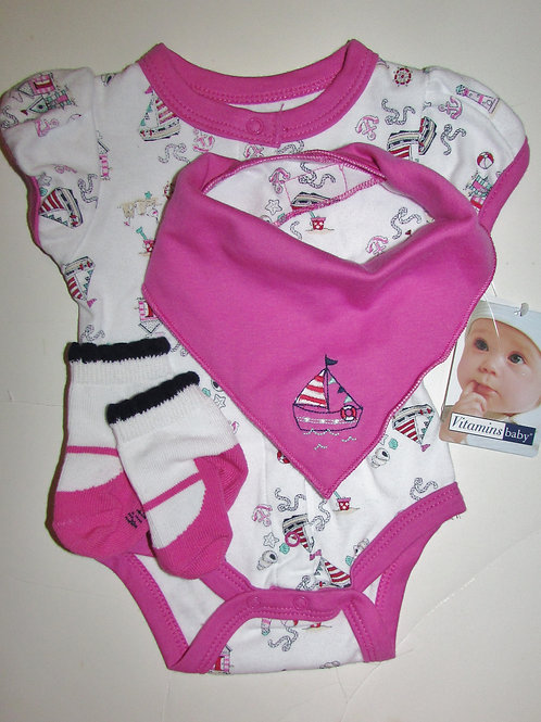 Vitamins 3 pc set white/pink sailing motif N