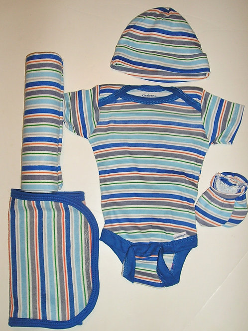 Gerber 5 pc set blue/stripes Newborn