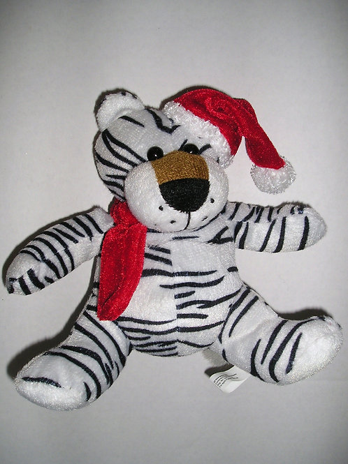 Plush white tiger Xmas 6 inches