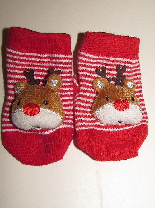 Baby Basics socks red/white choice of Santa or deer size N