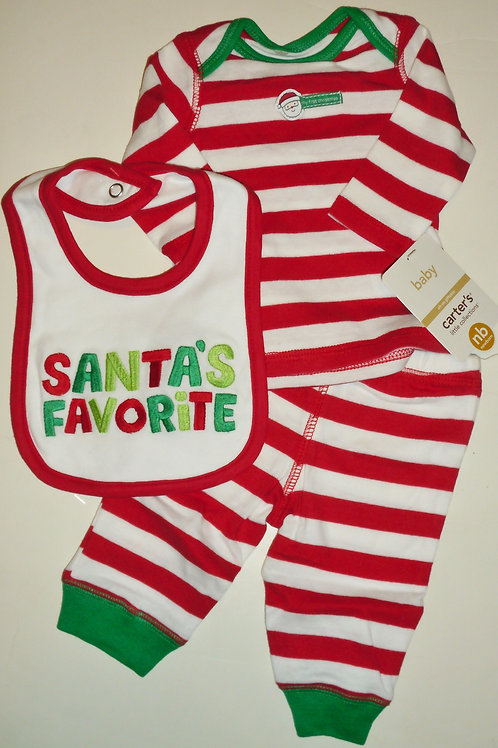 Carters 3 pc set red/white/green size N