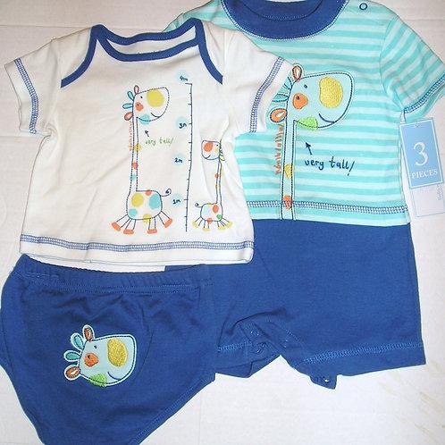 Baby Works 4 pc set blue/giraffe 0-3 mos