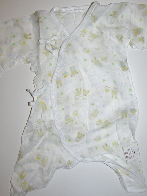Chinese creeper white/print size 0-6 mo