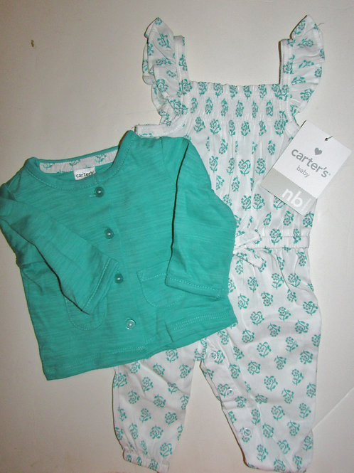 Carters green/white size N