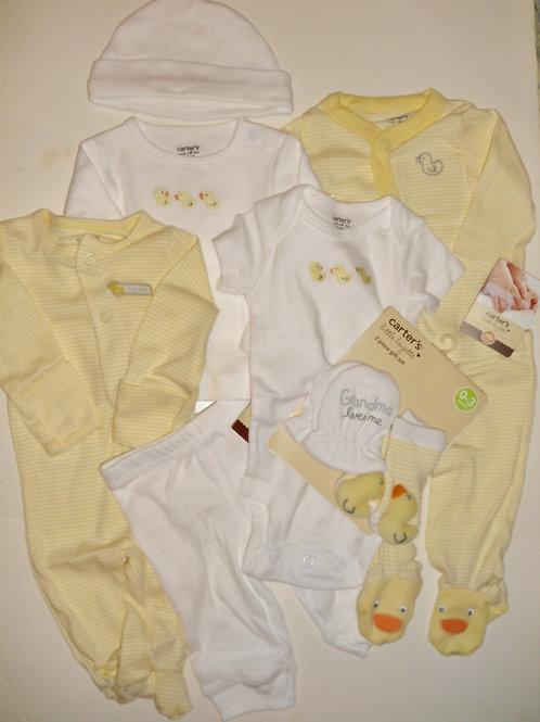 Carters 9 pc set white/yellow/ducks Newborn