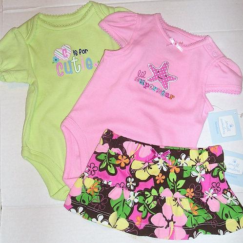 Small Wonders 3 pc set pink/green/floral Newborn