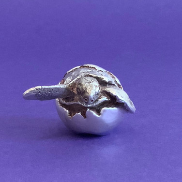 Hatching Turtle. Silver Sculptures.