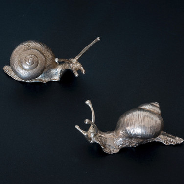 Pair of snails. Silver Sculpture.