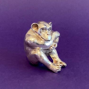 Contemplating Chimpanzee. Silver Sculptu