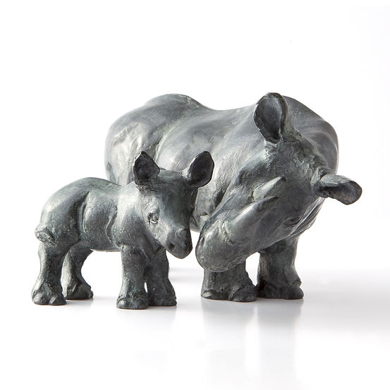 Rhino and calf. Sculpture.