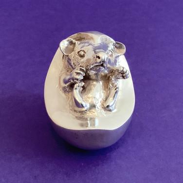 Baby Hedgehog. Silver Sculpture.