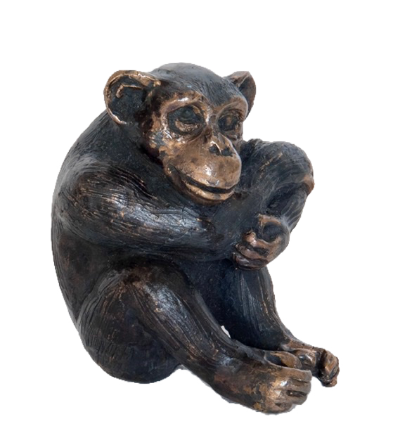 Contemplating chimpanzee. Sculpture.