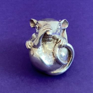 Thinking Mouse. Silver Sculpture.