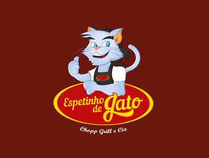 Logotipo acompanhado do mascote criado para a franquia Espetinho de Gato.
