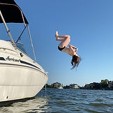 Jumping into Clear Lake in League City, Texas