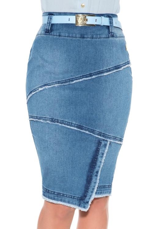 700fbcd12 Saia Recortes Diagonal Jeans Via Tolentino