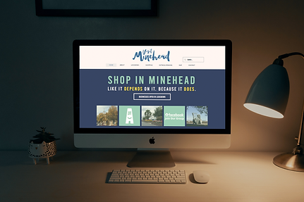 Shop in Minehead website on computer screen - Daffodil PR & Communications Somerset