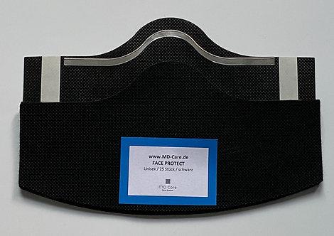 Klebende Besucher / Kunden / Behelfsmaske in schwarz mit Bügel