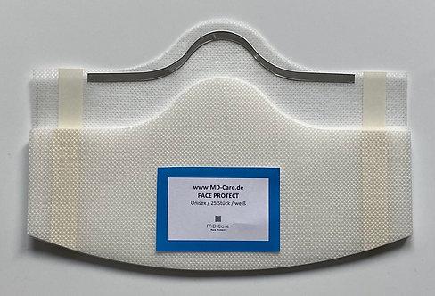 Klebende Besucher / Kunden / Behelfsmaske in weiß mit Bügel
