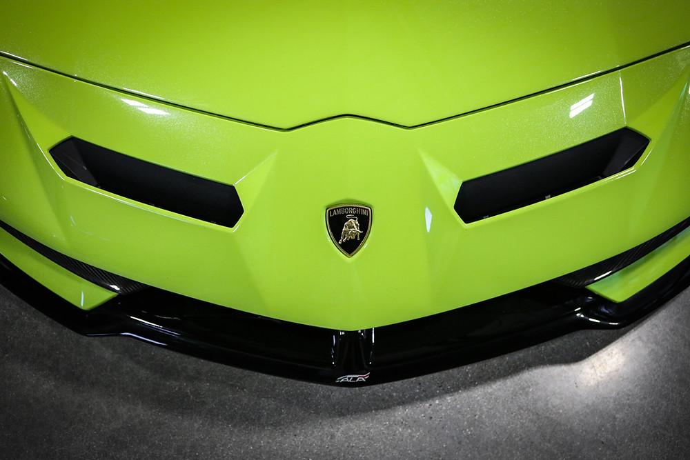 Front of a Green Lamborghini Aventador SVJ - Editing on a phone has advantages