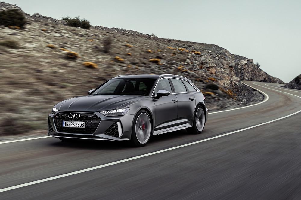 Rolling shot of Grey 2020 Audi RS6 Avant