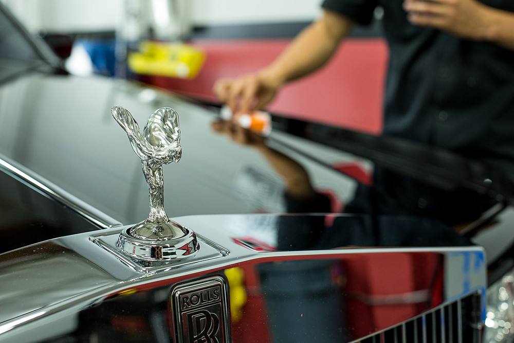 Spirit of Ecstasy on Black Rolls Royce Phantom