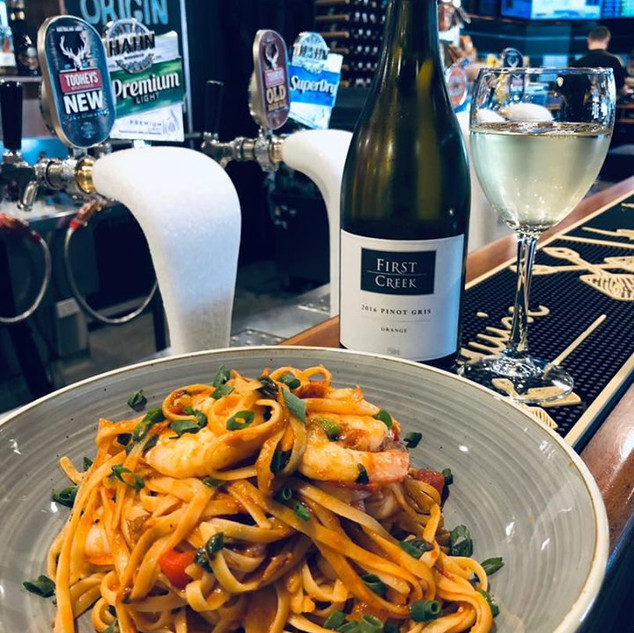 Seafood pasta, complimented with a Hunter Valley white