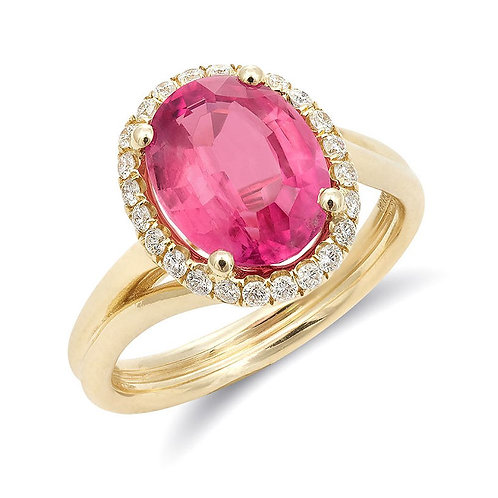 14k Yellow Gold 2.84ct TGW Natural Pink Tourmaline Diamond Halo Engagement Ring