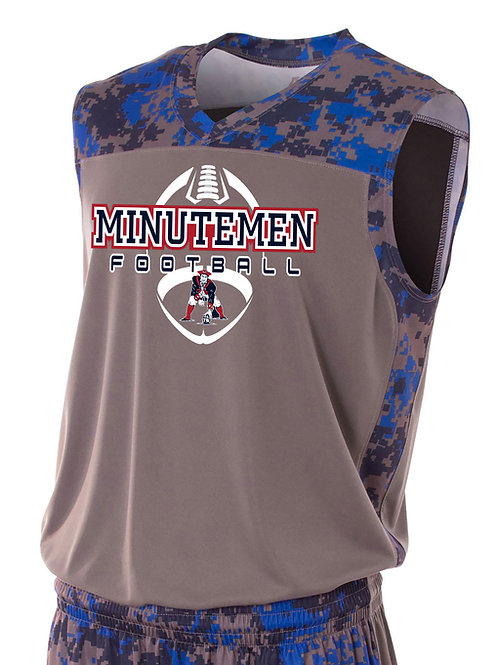 Washington TWP Minutemen Football Camo Performance Muscle Shirt
