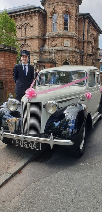 "John and our Austin 16 ""Barbara"" at Lichfield Registry Office"
