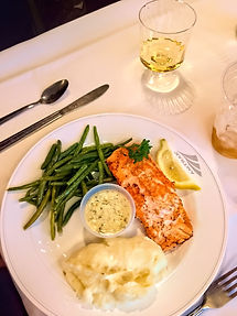 Salmon and White Wine in the dining car.