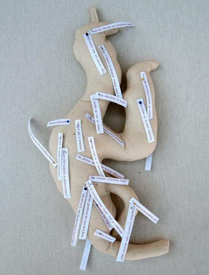 Recycled  Stuffed Motives piquées avec des extraits de textes d'Anne Thébaud- 2009-