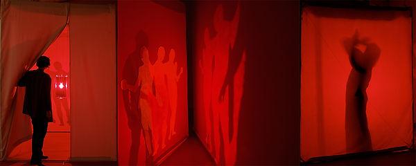 Lanterne rouge2011:coton- tarlatane-- bois -fer- aluminiium- celluloïd- ampoule fil éléctrique- moquette- cables-
