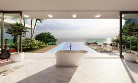 Freistehende Mineralguss Badewanne in einer Villa auf Marmor Fliese