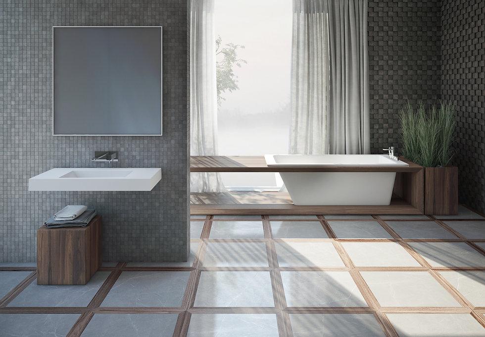 Freistehende Badewanne aus Mineralguss in weiß für Designer