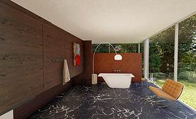 Mineralguss Badewanne Mondo in modernem Marmor Badezimmer