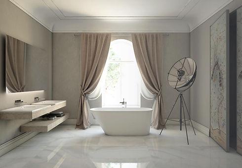 freistehende Design Badewanne mit Fensterblick