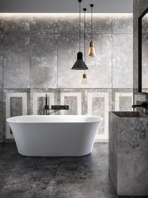 Sorano freistehende Badewanne aus Mineralguss in matt weiß im Industrial Badezimmer