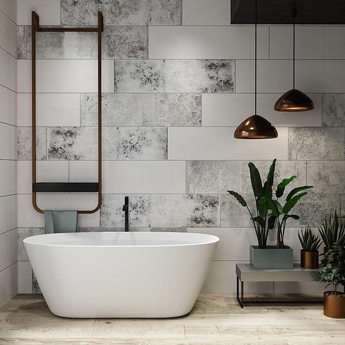 Freistehende Badewanne in matt weiß
