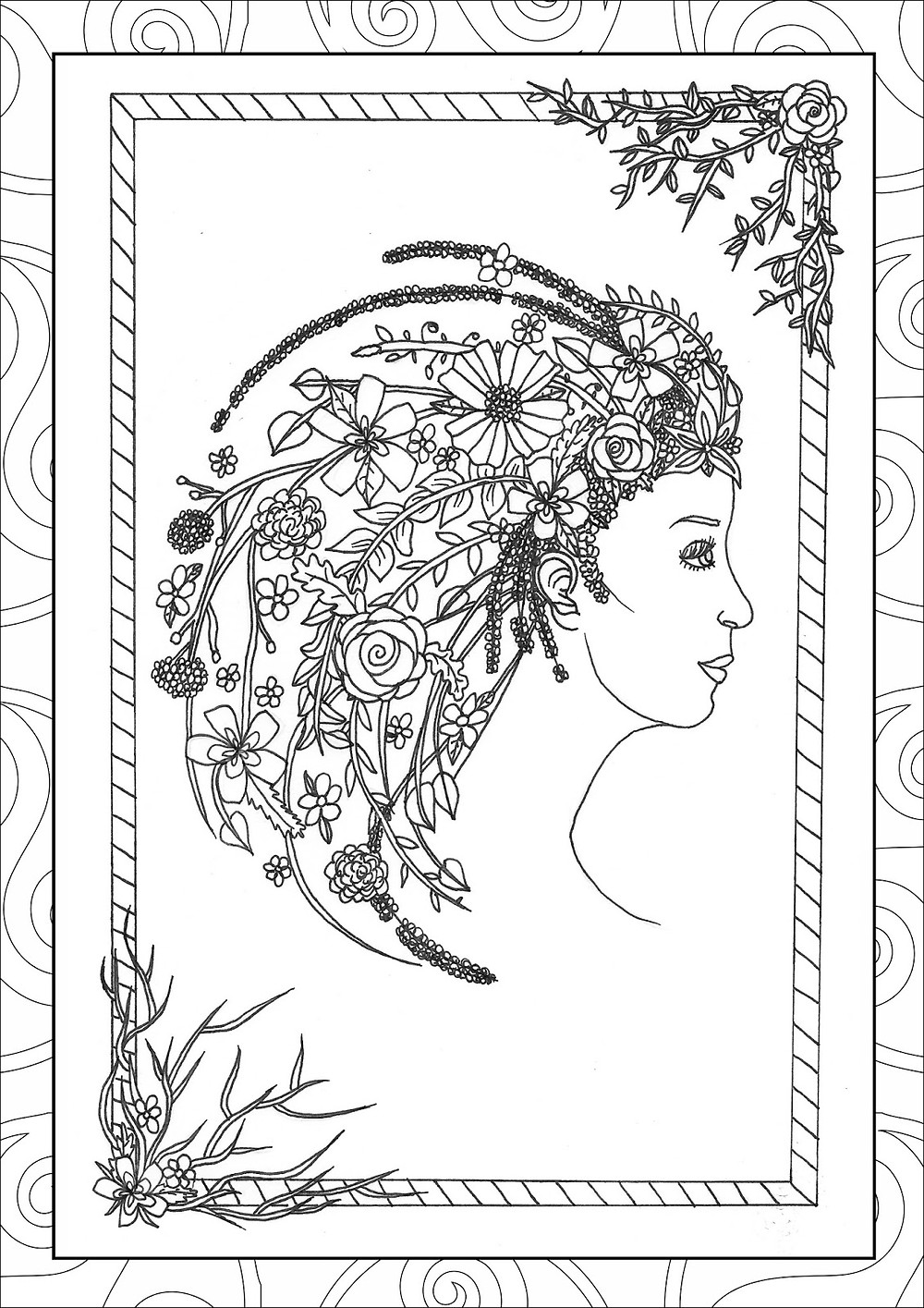 Blodeuwedd from the Gods & Goddesses Colouring book