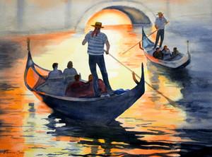 Gondolas at Sunset