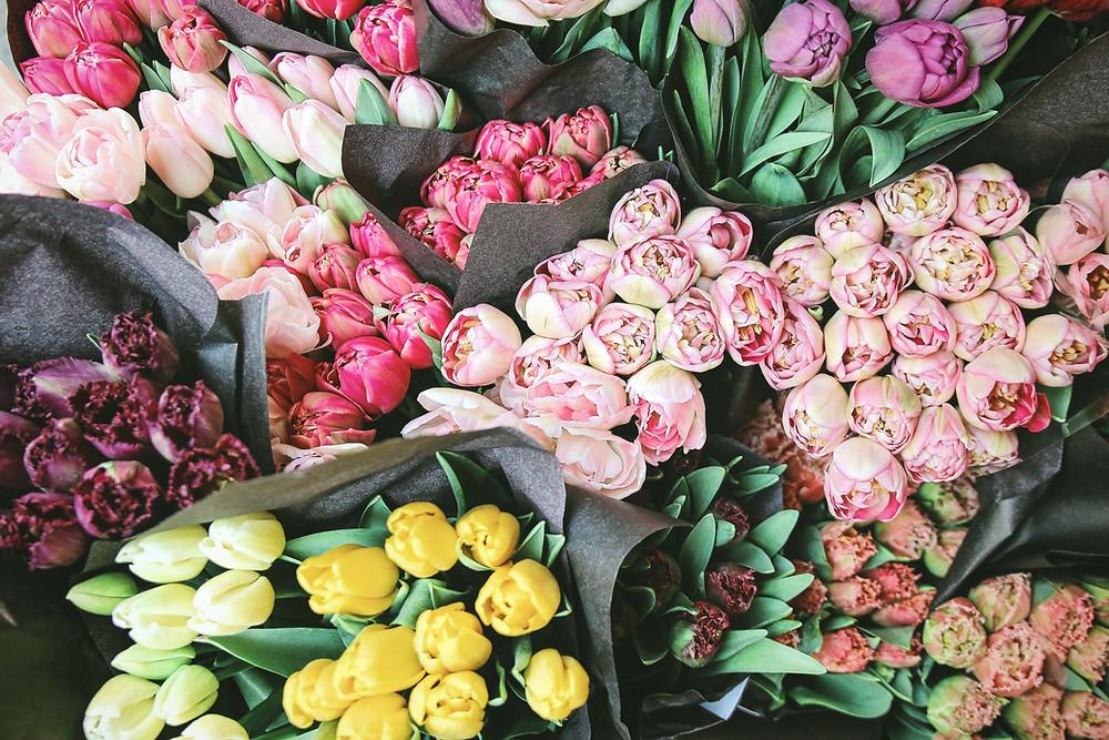 bouquets of flowers tulips, peonies, flower market