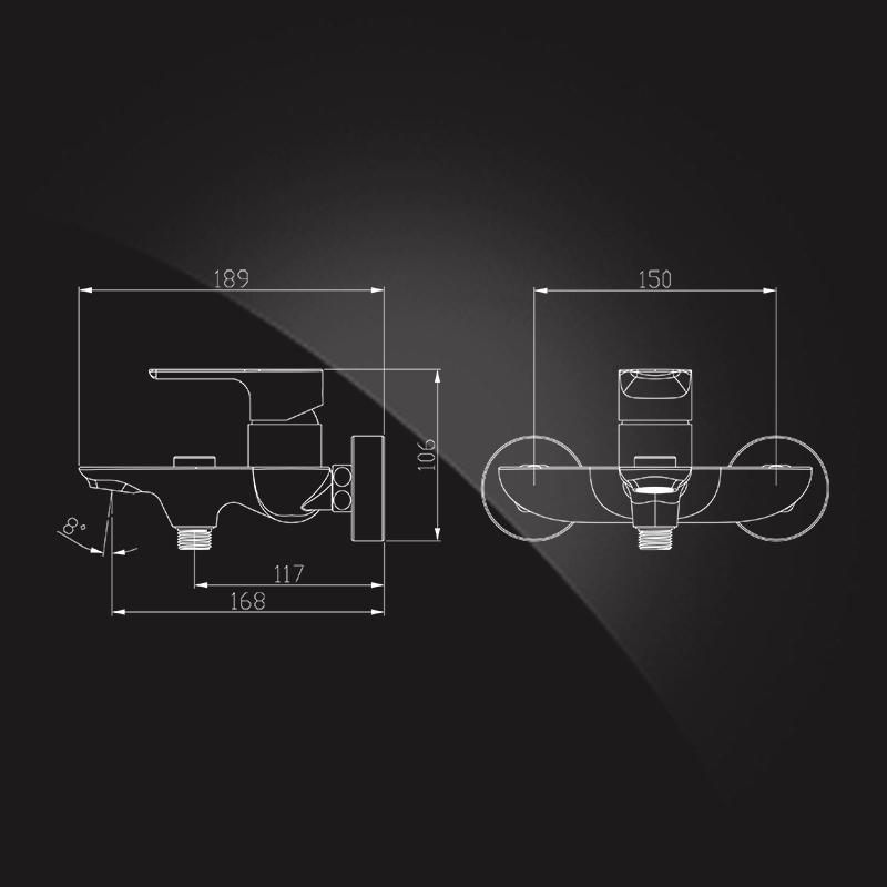 Elghansa Berkshire 2372743 - Смеситель для ванной однорычажный с душевым комплектом - Схема